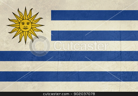 Grunge Uruguay Flag stock photo, Grunge sovereign state flag of country of Uruguay in official colors.  by Martin Crowdy
