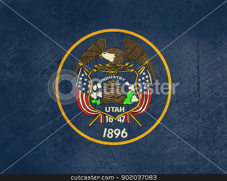 Grunge Utah state flag stock photo, Grunge Utah state flag of America, isolated on white background. by Martin Crowdy