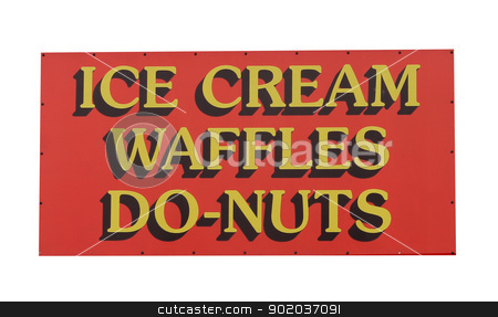 Ice cream and donuts sign stock photo, Ice cream, waffles and donut sign isolated on white background. by Martin Crowdy