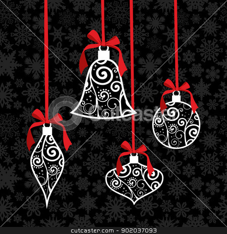 Christmas bauble greeting card background stock vector clipart, Christmas tree decoration over snowflake seamless pattern. Vector illustration layered for easy manipulation and custom coloring. by Cienpies Design