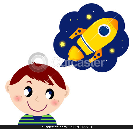 Little boy dreaming about rocket toy stock vector clipart, Cute boy dreaming about new spaceship. Vector cartoon Illustration  by BEEANDGLOW