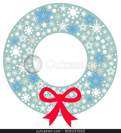 Christmas wreath with ribbon isolated on white stock vector clipart, Beautiful christmas wreath. Vector Illustration  by BEEANDGLOW