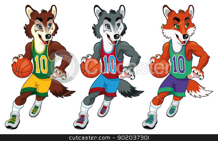 Basketball mascots. stock photo, Basketball mascots. Funny cartoon and vector isolated characters   by ddraw