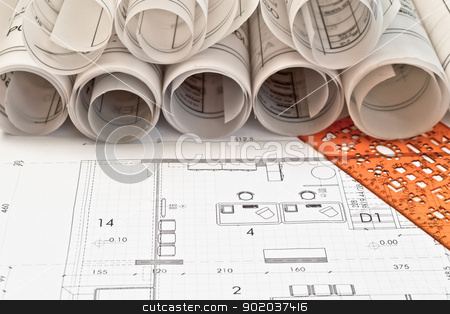 heap of architectural design and project blueprints drawings of house plan on table background stock photo, heap of architectural design and project blueprints drawings of house plan on table background by vician