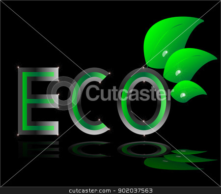 eco ecology logo green leaf vector illustration on black background stock vector clipart, eco ecology logo green leaf vector illustration on black background by vician