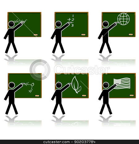 Glossy school icons stock vector clipart, Glossy color icon set showing a teacher on a blackboard teaching different subjects: alphabet, math, geography, chemistry, biology and history. by Bruno Marsiaj