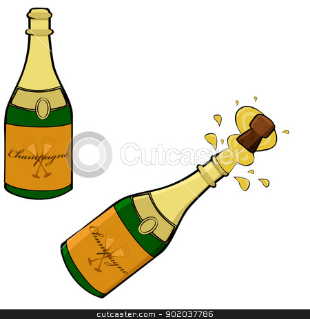 Champagne bottle stock vector clipart, Cartoon illustration showing two champagne bottles, one closed and the other being opened by Bruno Marsiaj
