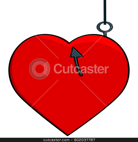 Hooked heart stock vector clipart, Concept cartoon illustration showing a heart hooked to a fish line, illustrating someone catching a love interest by Bruno Marsiaj