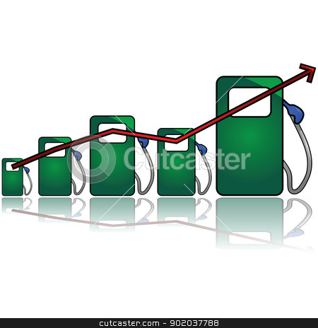 Gas chart stock vector clipart, Concept illustration showing a graph with different sized gas pumps to symbolize gas prices going up by Bruno Marsiaj