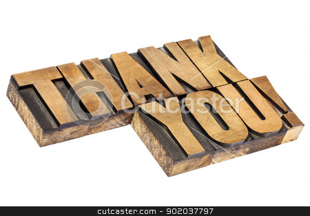 thank you in wood type stock photo, thank you  exclamation - isolated text in vintage letterpress wood type, diagonal layout by Marek Uliasz