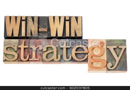 win-win strategy stock photo, win-win strategy - negotiation or conflict resolution concept - isolated words in vintage wood type by Marek Uliasz
