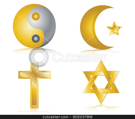 Four gold glossy icons for different religions vector illustration stock vector clipart, Four gold glossy icons for different religions vector illustration by vician