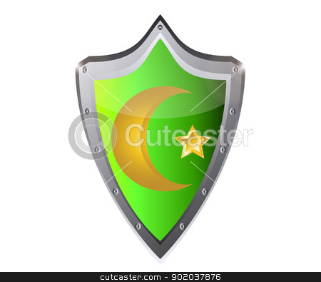 muslim star and crescent on metal button black background vector illustration stock vector clipart, muslim star and crescent on metal button black background vector illustration by vician