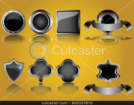 empty glossy metal button and shield isolated vector illustration stock vector clipart, empty glossy metal button and shield isolated vector illustration by vician