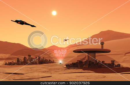 Mars City stock photo, This image shows the mars in feature by kirschner