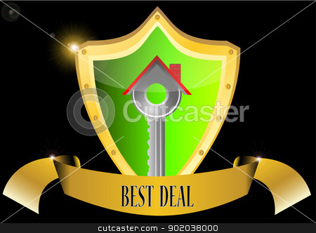 real estate business concept key house in glossy shield button vector illustration best deal banner stock vector clipart, real estate business concept key house in glossy shield button vector illustration best deal banner by vician