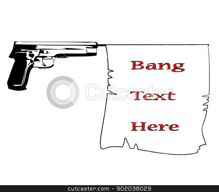 hand gun with bang flag with commercial banner ribbon lorem ipsum vector illustration stock vector clipart, hand gun with bang flag with commercial banner ribbon lorem ipsum vector illustration by vician