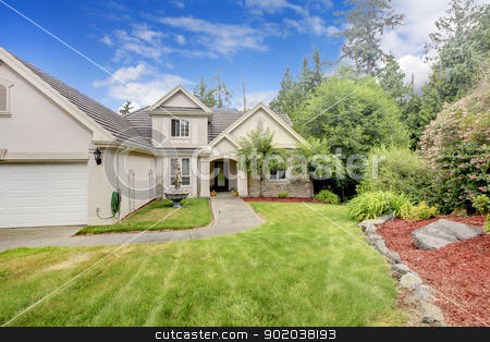 Grey beige large nice house exterior with summer landscape. stock photo, Grey beige large nice house exterior with summer landscape. by iriana88w