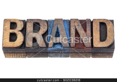 brand - isolated word  stock photo, brand - isolated word in vintage letterpress wood type blocks stained by blue, red, and black ink by Marek Uliasz