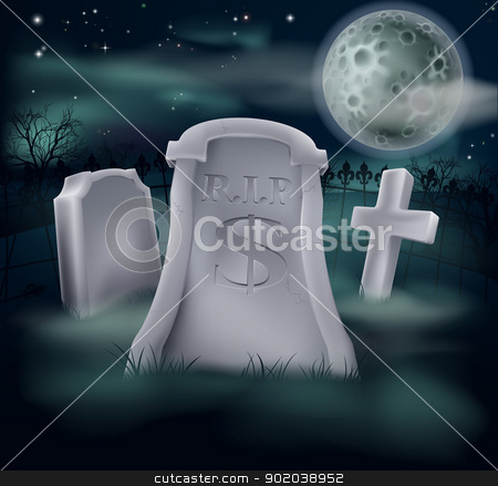 Dollar grave concept stock vector clipart, A grave in a graveyard with RIP and a dollar sign on it. Economy or financial concept. by Christos Georghiou
