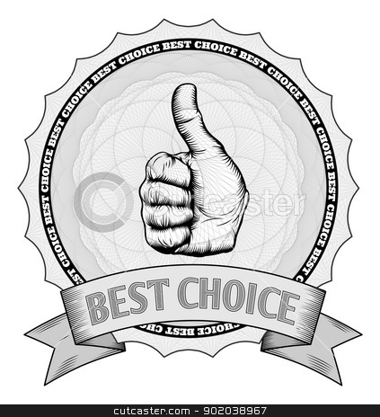 Thumbs up best choice award badge stock vector clipart, Detailed thumbs up best choice award winner badge with Guilloche patterns. In vector file image is arranged in handy layers. by Christos Georghiou
