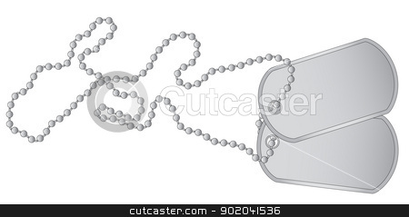 Dog Tags stock vector clipart, Aset of military dog tags with chain. by Kotto