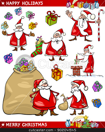 Cartoon Set of Santa Christmas Themes stock vector clipart, Cartoon Illustration of Santa Claus or Papa Noel with Sack of Gifts, Sock and Cane and other Christmas Themes set by Igor Zakowski