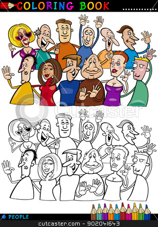 Happy People group for coloring stock vector clipart, Coloring Book or Page Cartoon Illustration of Happy People Group having Fun and Laughing by Igor Zakowski