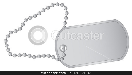 Dog Tag stock vector clipart, A military style dog tags with chain. by Kotto