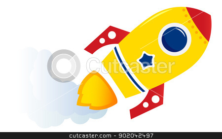 Flying cartoon yellow rocket isolated on white  stock vector clipart, Cartoon spaceship isolated on white. Vector illustration  by BEEANDGLOW