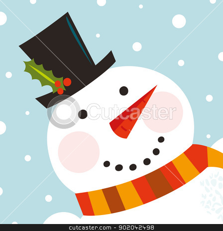 Cute happy Snowman face with snowing background stock vector clipart, Happy Christmas snowman. Vector cartoon Illustration  by BEEANDGLOW