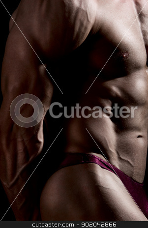 Close-up build muscle bodybuilder stock photo, Close-up build muscle bodybuilder on a dark background by Vadim