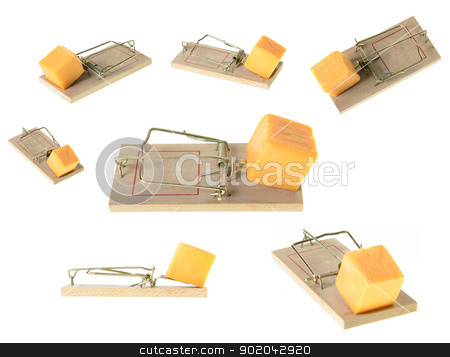 Mousetraps stock photo, A collection of set mousetraps at different angles, isolated on a white background. by Richard Nelson