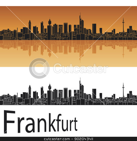 Frankfurt skyline stock vector clipart, Frankfurt skyline in orange background in editable vector file by paulrommer