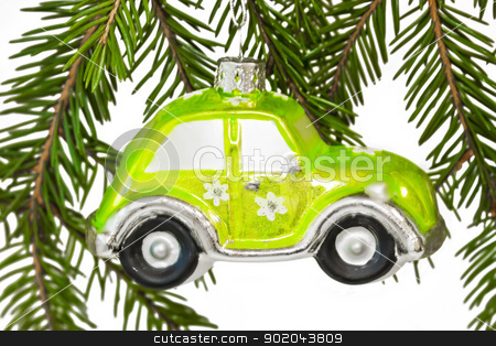 Christmas car stock photo, isolated green car for on a Christmas tree by Alexey Popov