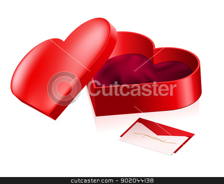 Red box in heart shape stock photo, Red box in heart shape. Illustration on white background. by dvarg