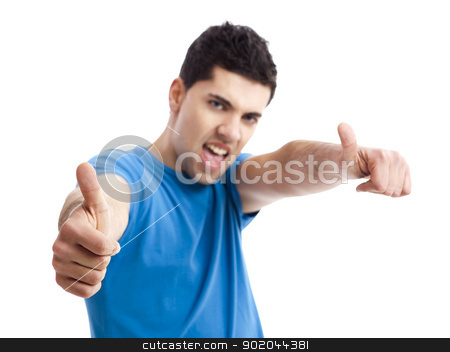 Happy young man stock photo, Handsome young man with thumbs up on an isolated white background  by ikostudio