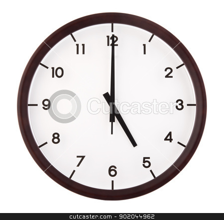 Classic analog clock stock photo, Classic analog clock pointing at 5 o'clock, isolated on white background by szefei