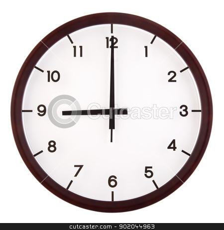 Analog clock stock photo, Classic analog clock pointing at 9 o'clock, isolated on white background by szefei