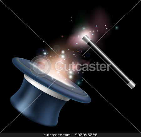 Magic tophat and magic wand stock vector clipart, Magic tophat and magic wand illustration with magic in the form of stars and light floating around them by Christos Georghiou