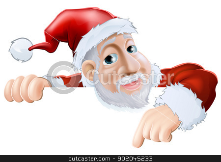 Happy cartoon Santa pointing down stock vector clipart, An illustration of a happy cartoon Santa smiling and pointing down  by Christos Georghiou