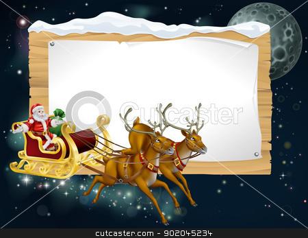 Santa Christmas Sleigh Background stock vector clipart, Santa Christmas sleigh background with Santa riding in his sleigh delivering Christmas gifts by Christos Georghiou