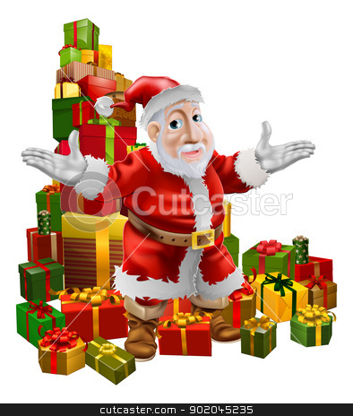 Santa and Christmas Gifts stock vector clipart, A happy smiling cartoon Santa with arms out showing the viewer a pile of Christmas gifts by Christos Georghiou
