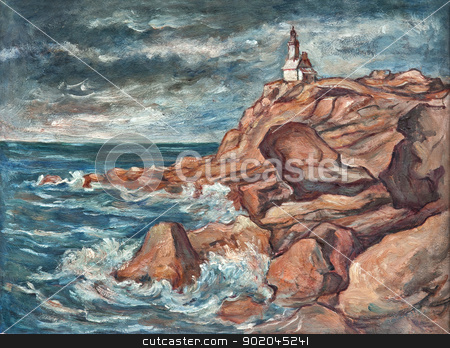 Lighthouse stock photo, Lightnouse - painting - oil on canvas by Siloto