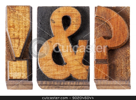 exclamation, question mark stock photo, exclamation point , question mark and ampersand - isolated vintage letterpress wood type blocks by Marek Uliasz