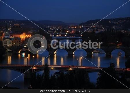 Night Prague stock photo, Night view of Prague's bridges and urban tourism by Ondrej Vladyka