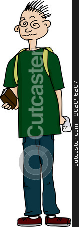 Student On Drugs stock vector clipart, Student high on drugs with bag of narcotics and books by Eric Basir