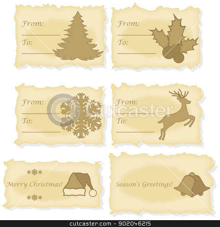 Christmas cards printed on old paper stock vector clipart, Set of six different Christmas and gift cards printed on old parchment paper by Bruno Marsiaj