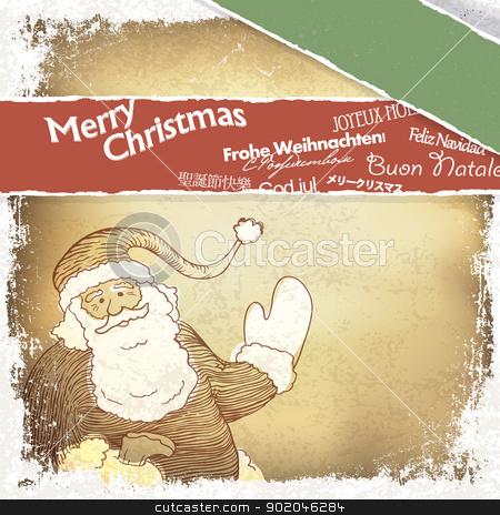 Retro Santa Claus greetings in different languages. Vector, EPS1 stock photo, Retro Santa Claus greetings in different languages. Vector, EPS10 by pashabo