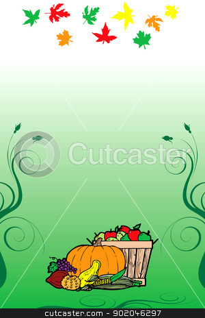 Thanksgiving Background 10 stock vector clipart, Vector Illustration for Thanksgiving Fruit Vegetable Card and Fall Autumn Leaves. by Basheera Hassanali